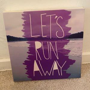 Lets Run Away purple wall canvas